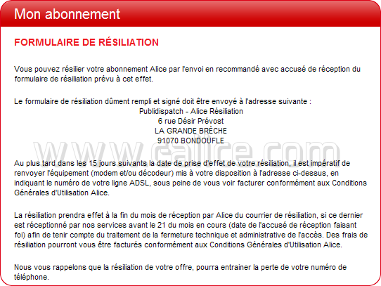 lettre alice resiliation retour modem alicebox et decodeur tv. Black Bedroom Furniture Sets. Home Design Ideas
