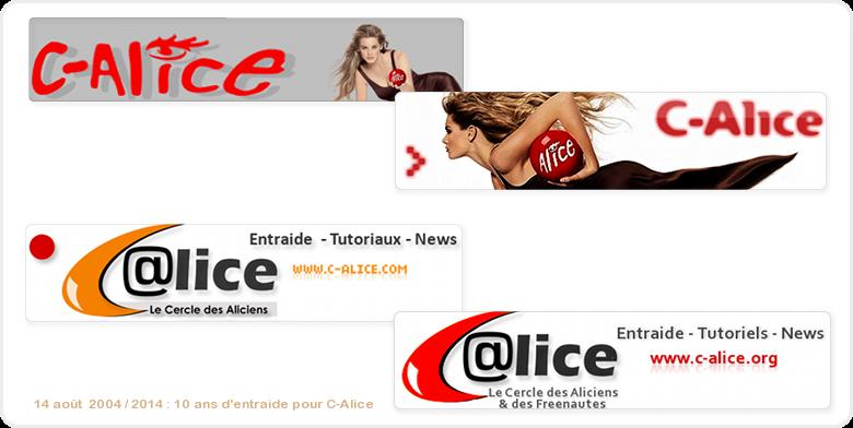 différentes bannières de C-Alice durant ces 10 ans
